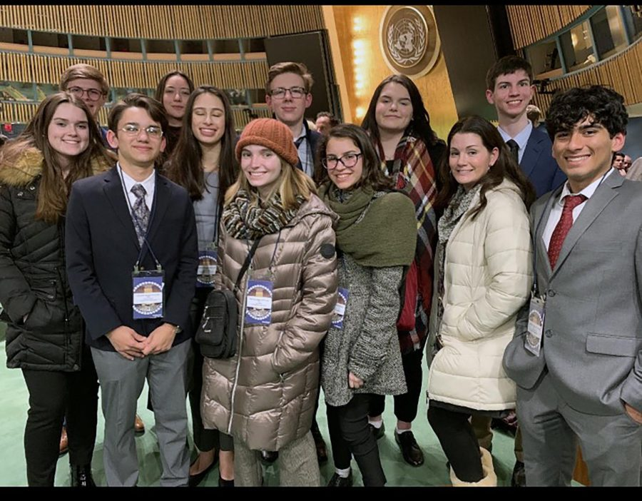 The group was able to visit the UN building for opening and closing ceremonies on their NYC trip Feb. 28.