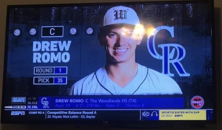Senior catcher Drew Romo.  Romo was a member of the USA U18 Gold medal winning baseball team