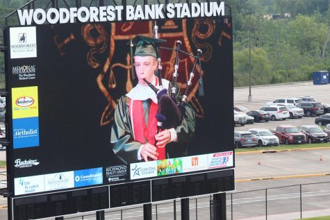 "Senior Spencer Johnson opens the graduation ceremony with ""Scotland the Brave"" at Woodforest Stadium on June 2."