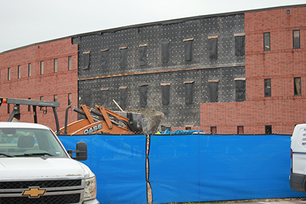 The exterior of the math/science on the 3rd floor and the first and second floors are cleared for the new wing.