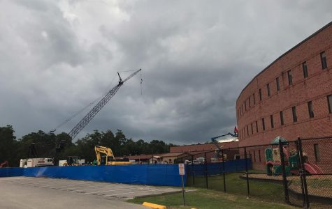 Labor Day weekend rains didn't stop the construction on the new wing at TWHS.