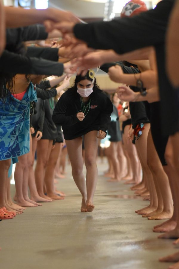Senior+Carolina+Larricella+is+recognized+at+the+swim+meet.++All+seniors+run+through+an+arch%2C+and+are+featured+on+a+video+board.