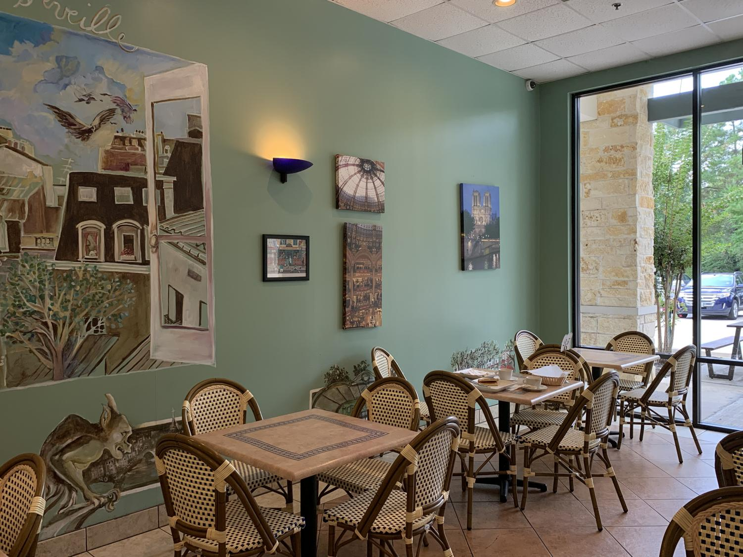 Bright windows and comfortable seating make the cafe a great place any time.