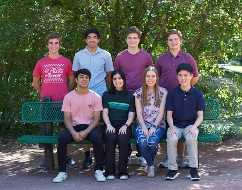 The eight National Merit semifinalists are: Top row (l to r) Alex Vasquez, Rajiv Iyer, Leo Holloway, Jack Huff.  Seated:  (l to r) Arjun Radhakrishnan, Carolina Lauricella, Anna Claire Holleman, Barnett Han are in the courtyard at TWHS on Sept. 22.