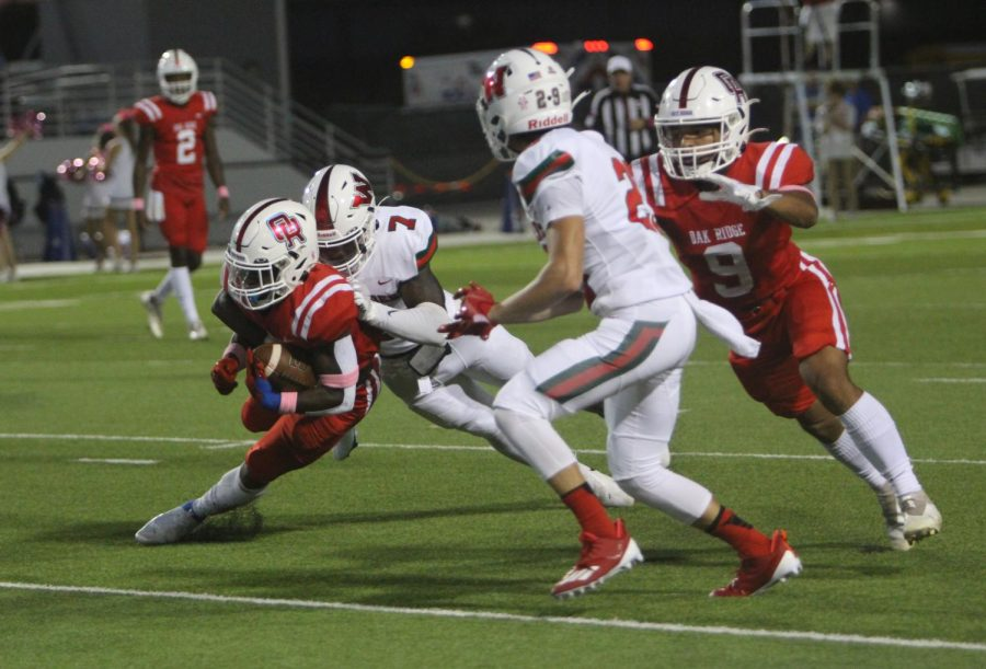 Senior Martrell Harris tackles an ORHS player at the game Friday night.